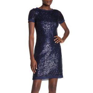 Marina Sequin Chiffon Trim Sheath Dress Blue
